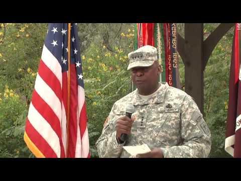 Vice Chief of Staff of the Army Gen. Lloyd Austin awards three Purple Hearts
