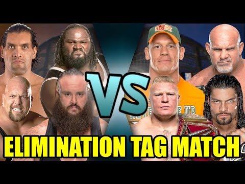 Lesnar, Goldberg, Reigns & Cena Vs Big Show, Mark Henry, Great Khali & Strowman (Elimination Tag)