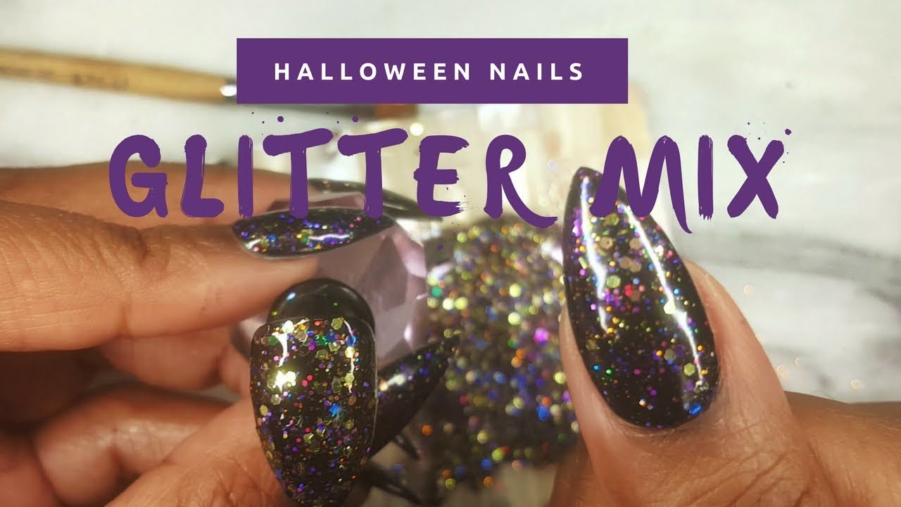 Halloween nails 2017 gel glitter mix nail art design press halloween nails 2017 gel glitter mix nail art design press on nails prinsesfo Image collections