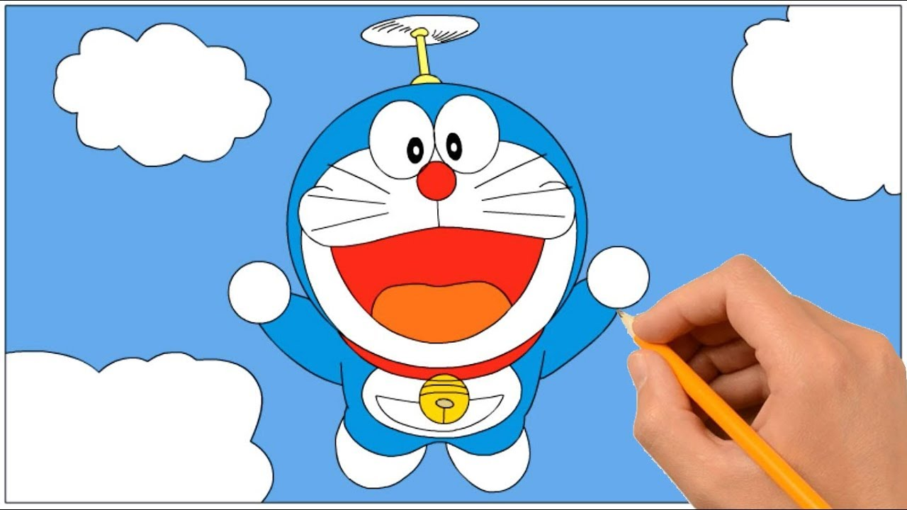 How to Draw Doraemon Flying With Propeller | Coloring Book