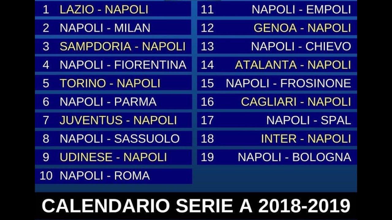 Calendario Partite Seria A.Calendario Serie A Tim Del Napoli 2018 2019 Il Mio Modesto Parere