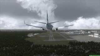Cathay Pacific 737-900 crosswind landing Narita Tokyo (FSX)