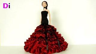 Черно красное платье для куклы Барби