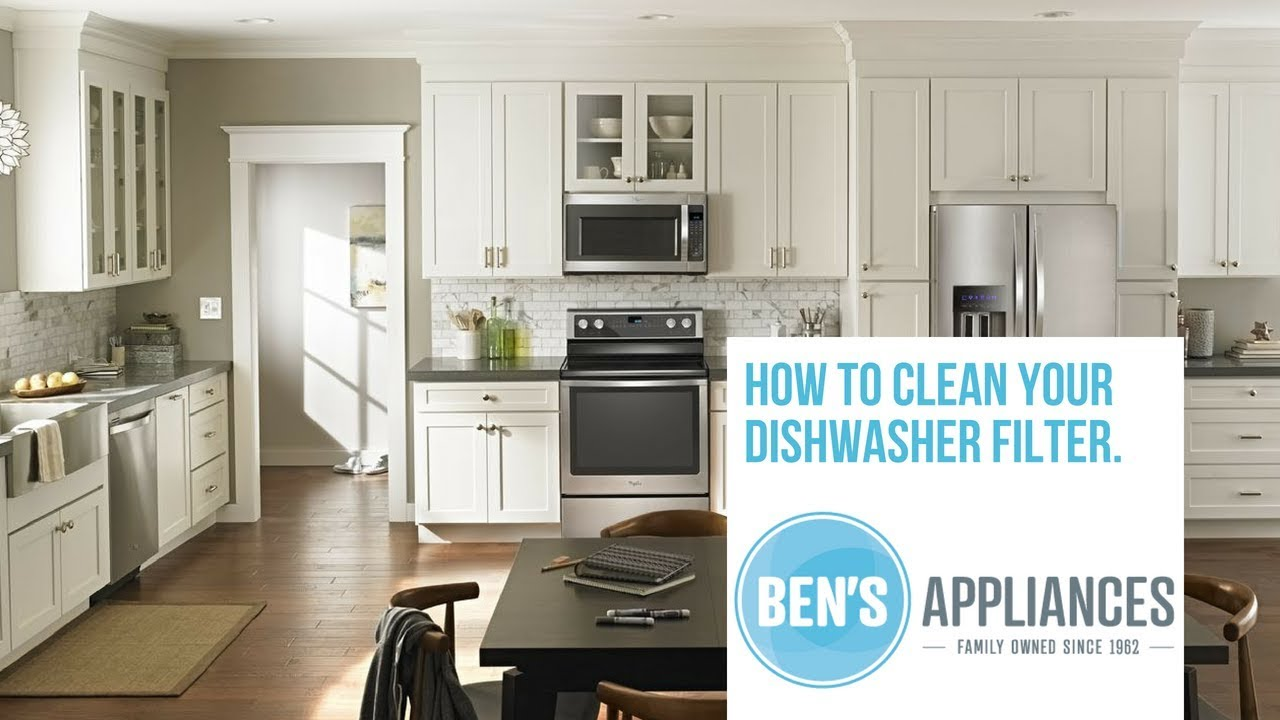 how to clean your dishwasher filter whirlpool kitchenaid jennair youtube. Black Bedroom Furniture Sets. Home Design Ideas