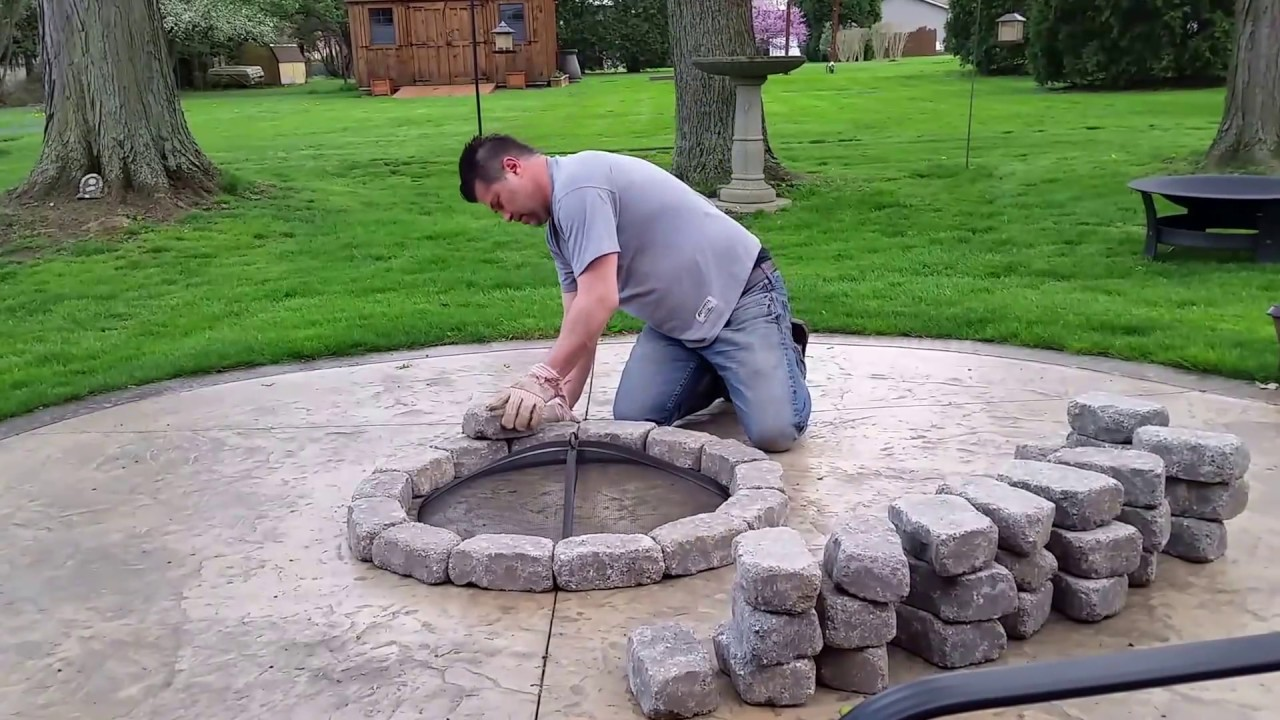 Build a Concrete Patio Firepit for 100 bucks - YouTube