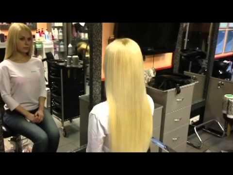 Наращивание волос до и после.