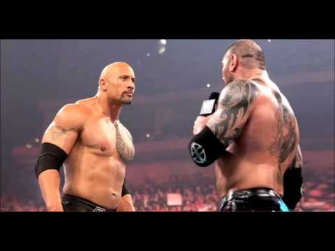 dave batista shoots down match against the rock at