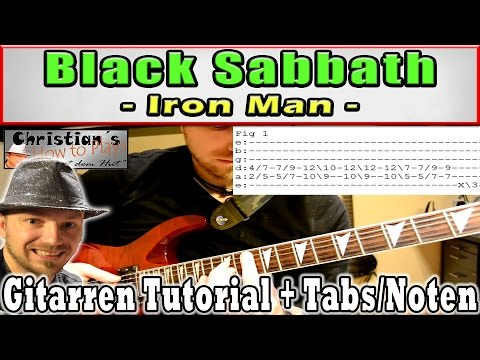 How to play Black Sabbath IRONMAN Tabs Akkorde E Gitarre Hauptriff Tutorial [HD] Deutsch