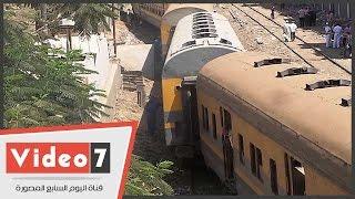 خروج قطار عن القضبان فى إمبابة