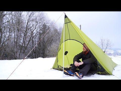 Ultraleicht Wandern Rhön - Schlafen im Schnee