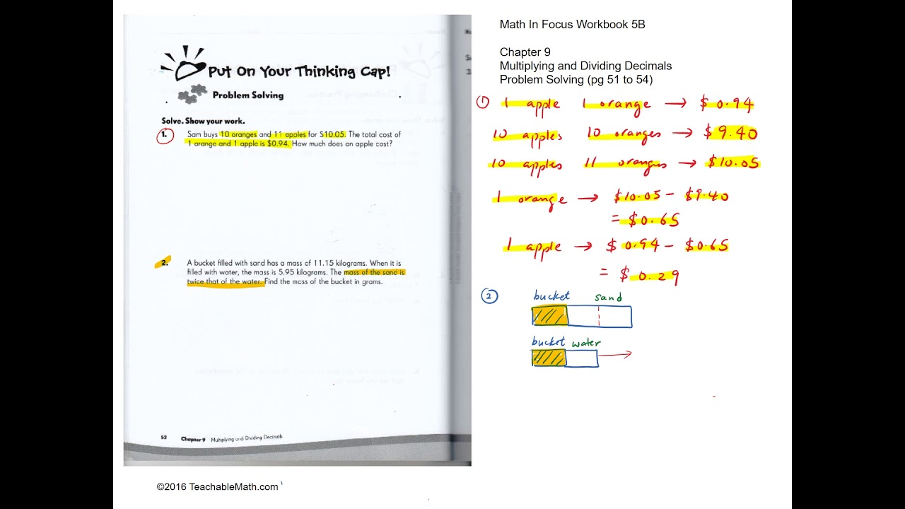 MIF Workbook 5B Solutions Chapter 9 Multuplying and Dividing Decimals (Pg51  to 54)