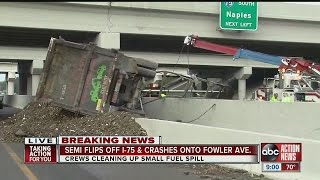 Video Semi flips off I-75 and crashes onto Fowler Avenue download MP3, 3GP, MP4, WEBM, AVI, FLV Agustus 2018