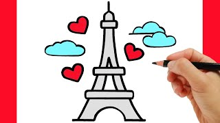 HOW TO DRAW THE EIFFEL TOWER EASY