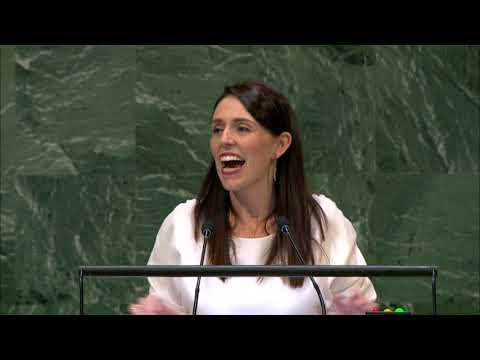 Jacinda Ardern at the UN General Assembly, September 27 2018