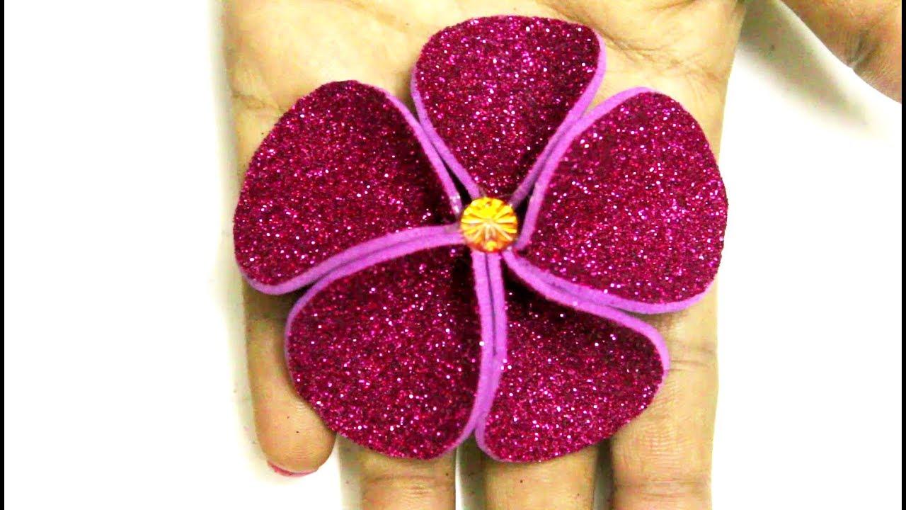 Glitter Foam Sheet Flowers Making Youtube