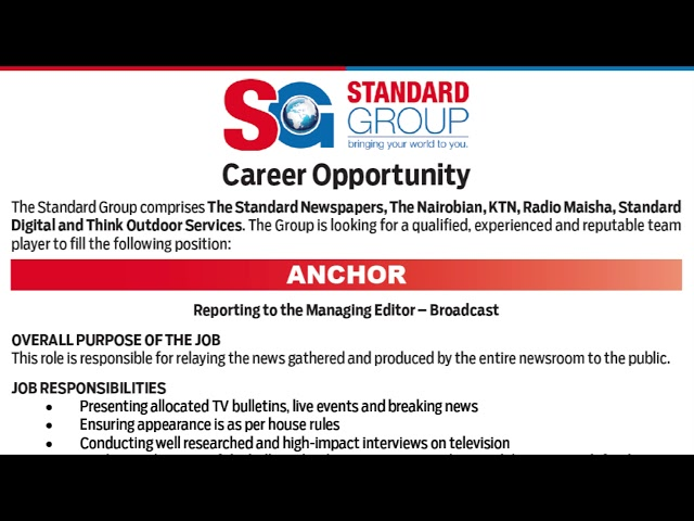 Job Vacancies At The Standard Media Group  Ktn News  The Standard