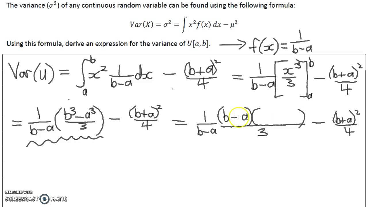 deriving a formula for the variance of the uniform