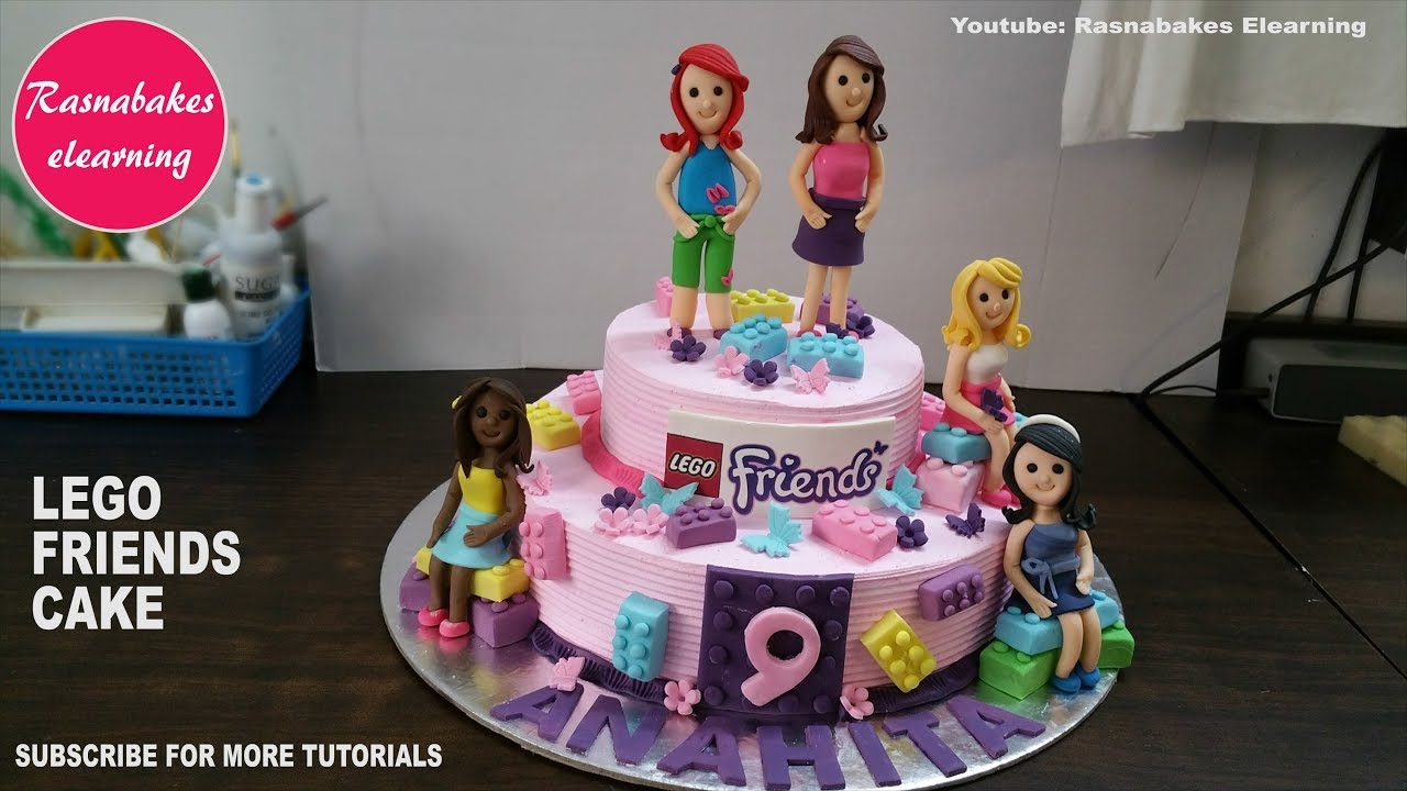 Lego Friends Birthday Cake With 3d Fondant Characters Mia Emma Andrea Stephanie Olivia Design Ideas Youtube