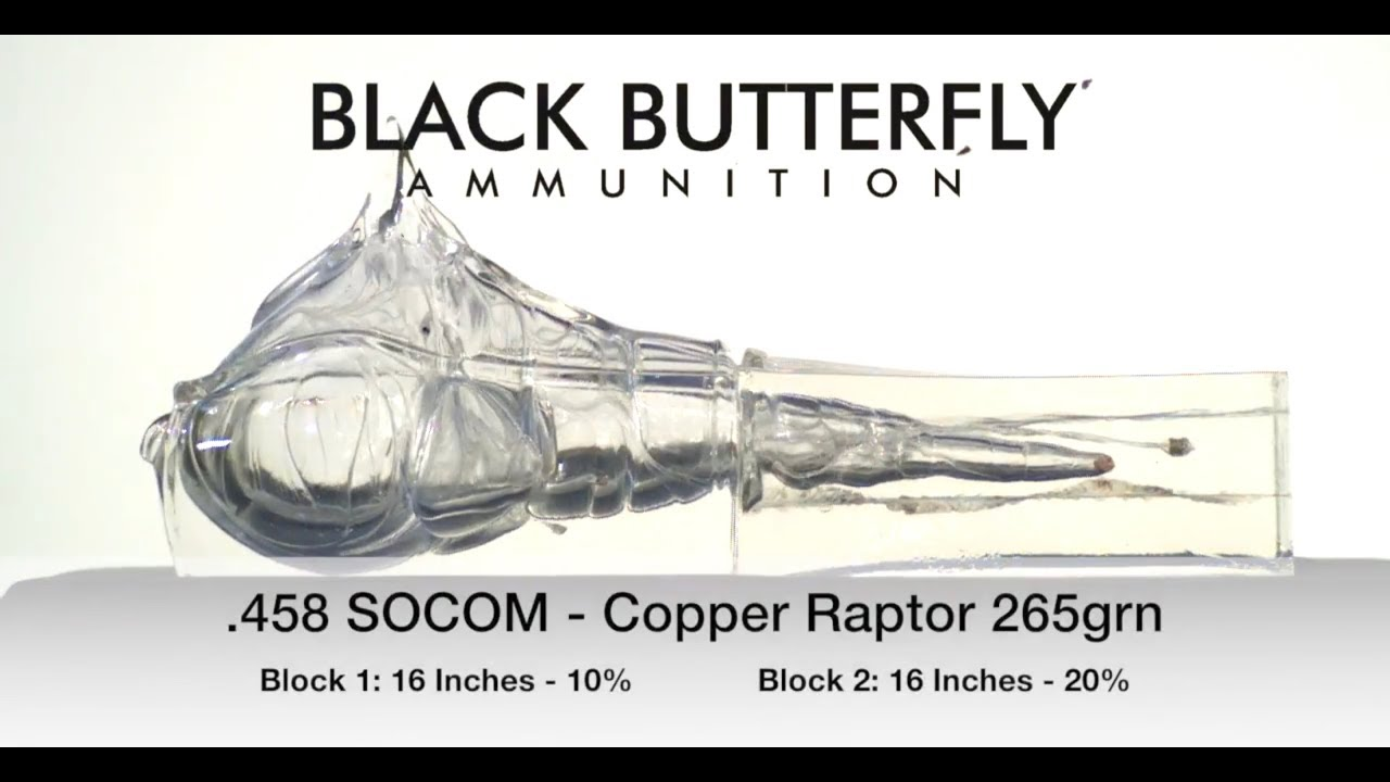 Black Butterfly Ammunition, Premium,  458 SOCOM, 265 gr, Cutting Edge  Bullets FB Raptor Copper