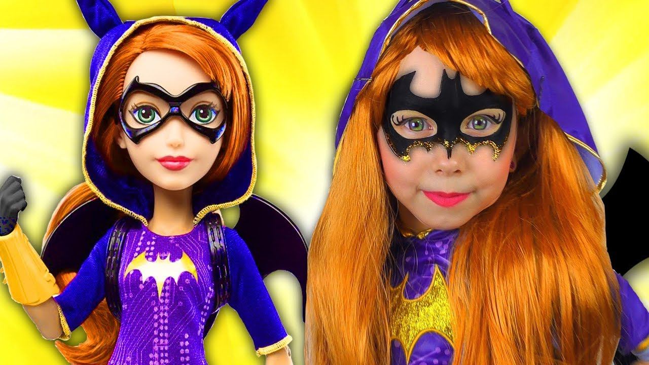 Super Hero Girls Kids Makeup Batgirl Cosplay With Colors Paints And