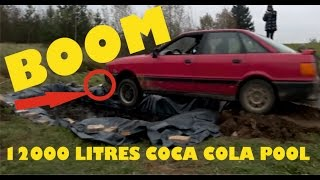 Grandad fills pool with 12,000 litres of Coke then drives his car in to get rid of RUST