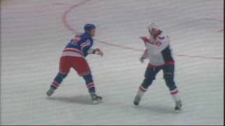 New Leafer Colton Orr goes head to head with Capitals heavy weight Donald Brashear