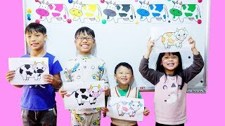 Hunter Kids Go To School Learn Colors Dairy Cows | Classroom Funny Nursery Rhymes