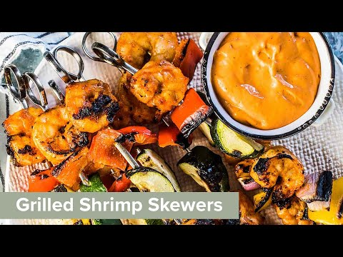 roasted-red-pepper-dip-grilled-shrimp-skewers-|-the-endless-meal