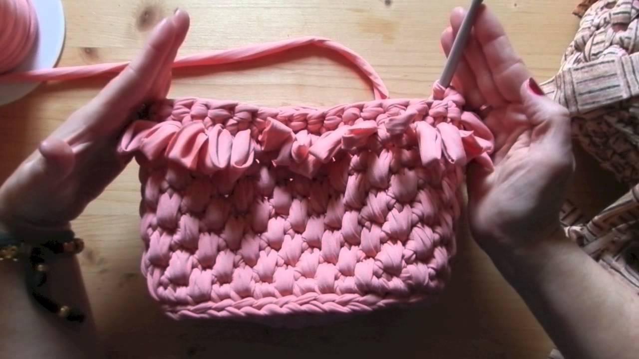 tutorial punto pelliccia per decorare borse in fettuccia