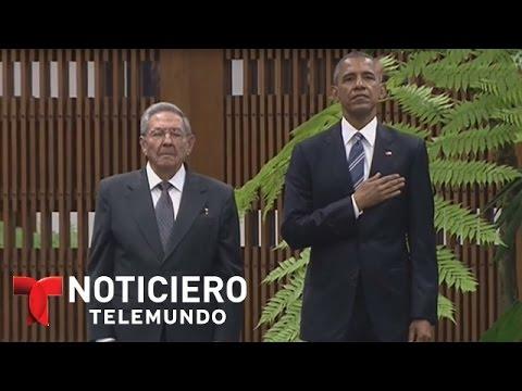 Momento en que toca el himno de EEUU en La Habana, Cuba | Noticiero | Noticias Telemundo