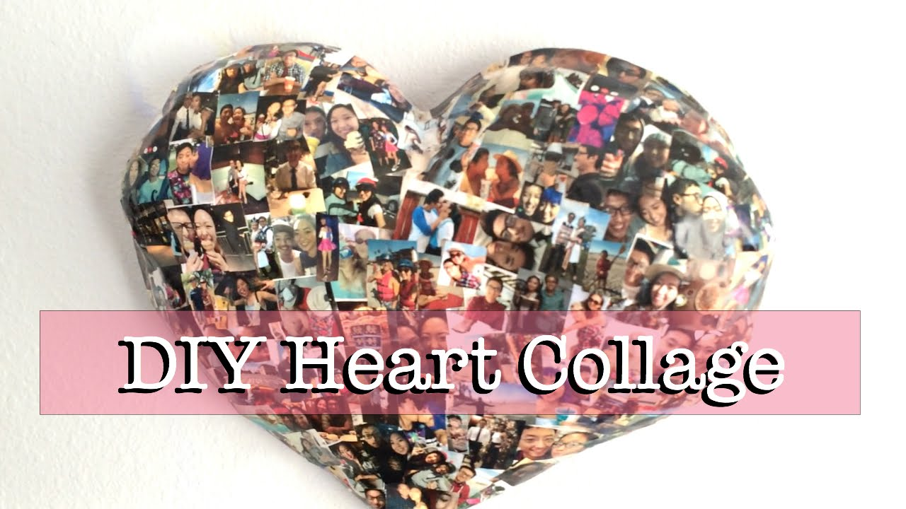 DIY Paper Mache Heart Collage (Wall Decor) - YouTube
