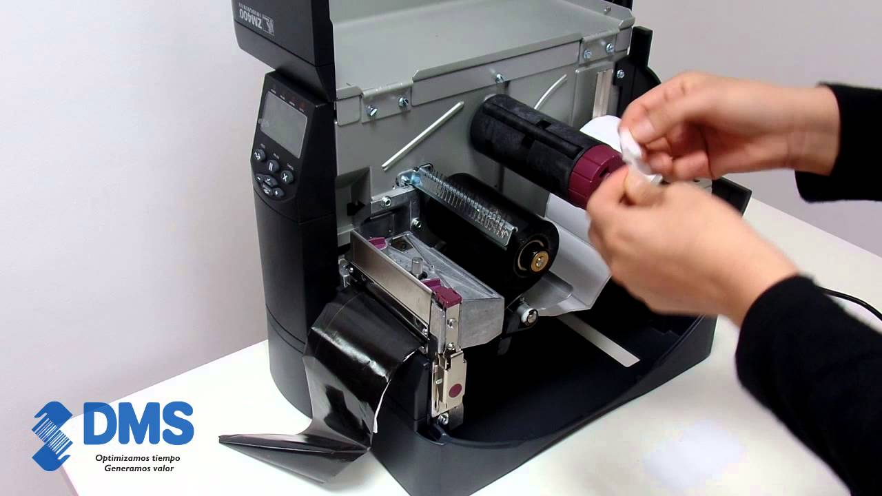 Zebra ZM400, impresora código de barras, colocación de suministros