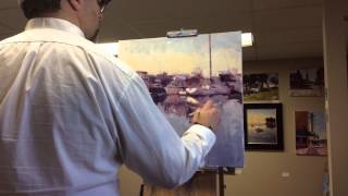 Speed paint of oil painting of boats.
