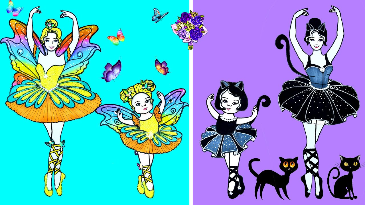 Paper Dolls Dress Up - Butterfly and Black Cat Dresses Handmade Quiet Book - Barbie Story & Crafts