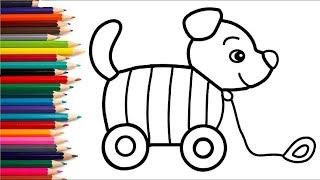 Розмальовка для дітей ІГРАШКА ПЕСИК Мультик Розфарбування Вчимо кольори II