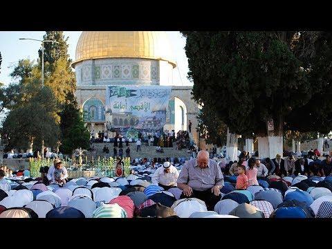 Mescid-i Aksa'da bayram namazına 10 binlerce kişi katıldı