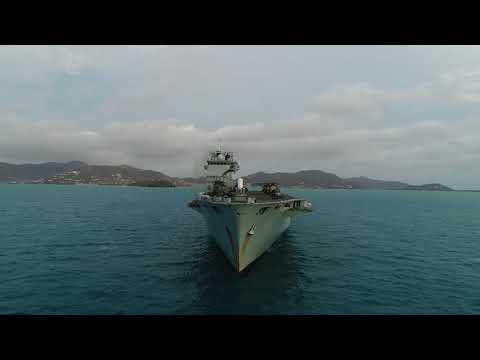 HMS Ocean at anchor off British Virgin Islands ready to commence  disaster relief work