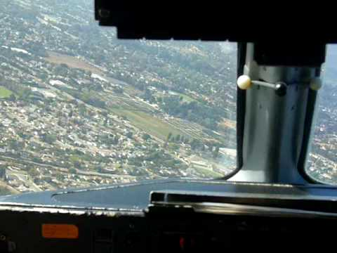 Landing at Santa Barbara Airport, Cockpit View, 9/29/09, Dash 8, US Airways Express