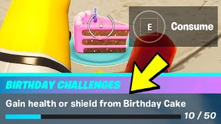 Gain Health Or Shield From Birthday Cake & Birthday Cake LOCATIONS - Fortnite Birthday Challenges