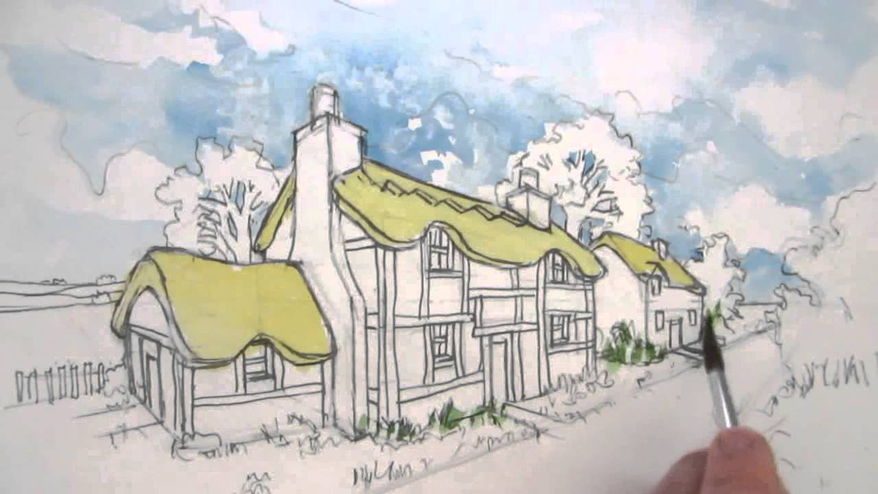 How To Draw A Cottage House In Two Point Perspective Colour Wash