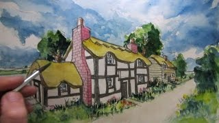 How to Draw a Cottage House in Two-Point Perspective: Colour Wash
