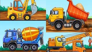 Познавательное видео, развивающая игра, мультфильм про трактор, экскаватор, кран, грузовик.