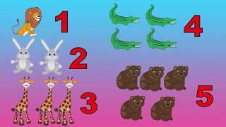Учим цифры. Счет от 1 до 5. Дикие животные. Математика для дошкольников.