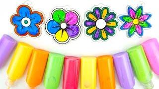 Витражи для детей, учимся раскрашивать витражи, Раскрашиваем 4 витража цветочка  Игрушкин ТВ