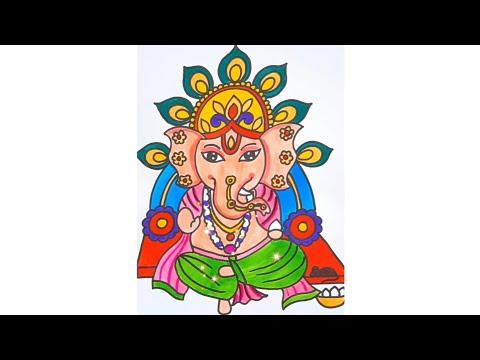 Ganpati Bappa Drawing   Lord Ganesha Drawing   Easy Ganpati Drawing   @Tiny Prints Art Academy