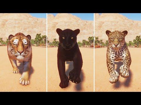 Big Cats Category Race in Planet Zoo including Cheetah, Snow Leopard, Siberian Tiger, Jaguar |