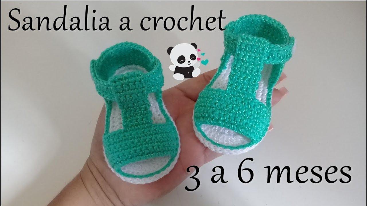 1fa3f27c1 Sandalias a crochet - modelo víctor -3 a 6 meses -bebe - YouTube