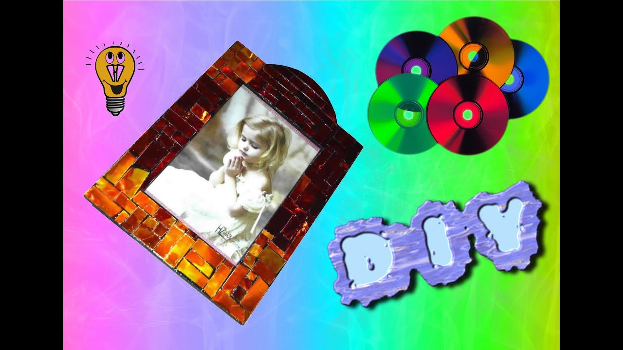 DIY TUTORIALS: Create a photo frame with recycled CD - YouTube
