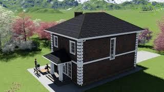 Проект небольшого двухэтажного дома Призма С-017 на 4 спальни