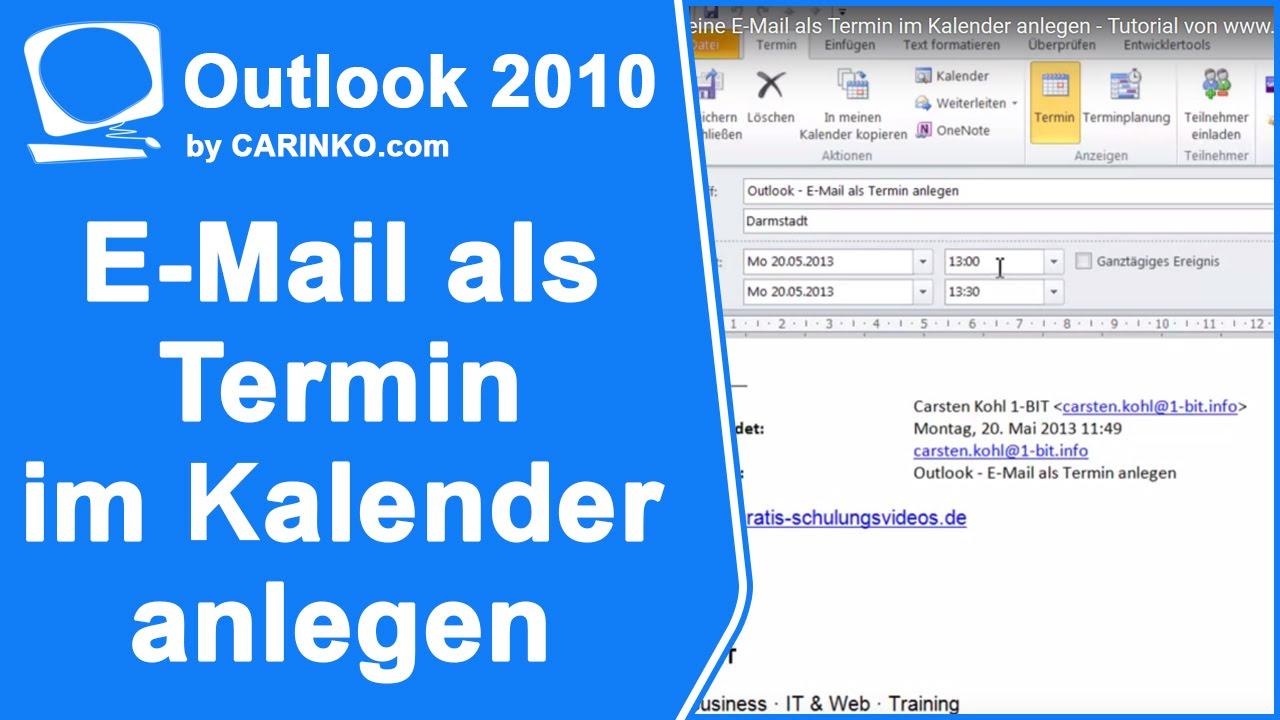 In Outlook eine E-Mail als Termin im Kalender anlegen - carinko ...